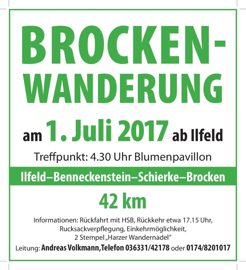 01. Juli Brockenwanderung